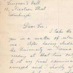 Letter of Application from Concentration Camp Survivor, March 14 1940, SOM 5/2/3/7