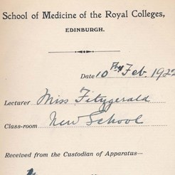 Mabel Fitzgerald's Receipt for Teaching Apparatus