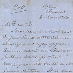 Letter to JSY relating to Edinburgh Maternity Hospital abandoning the use of Chloroform, May 1853