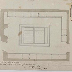 Plan and elevation of glass cases for small Western Museum, RCSEd 8/2/2/121