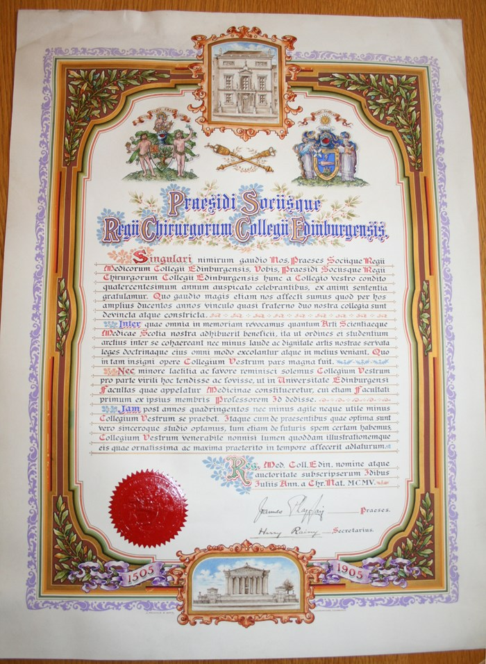 1905 Illuminated congratulatory manuscript presented by the Royal College of Physicians of Edinburgh