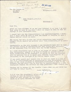 Final letter from Giorgio Szymanski to John Orr, 1939 (SOM 5/2/3/5)
